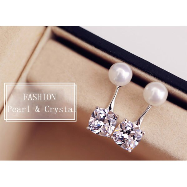 華麗珍珠方形水晶耳環