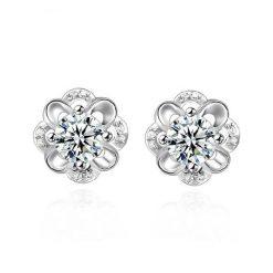 永恆的愛水晶花朵鍍銀耳環