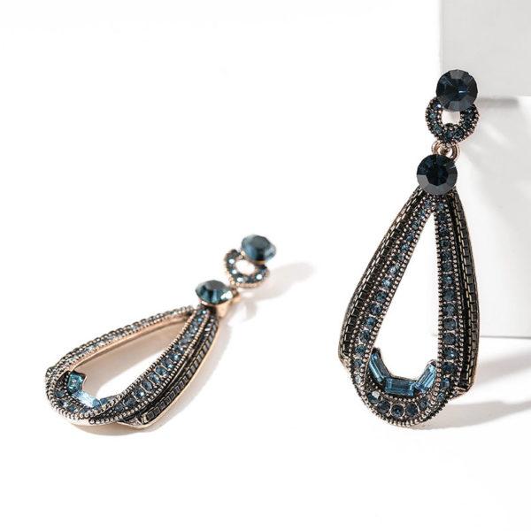 復古風藍鑽耳環