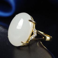 和田玉鑲鋯石 925純銀戒指