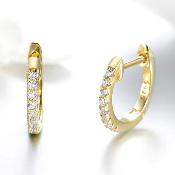 金色小圓鑲 3A級鋯石耳環(請確認內圈尺寸,耳垂大小是否適合佩戴)