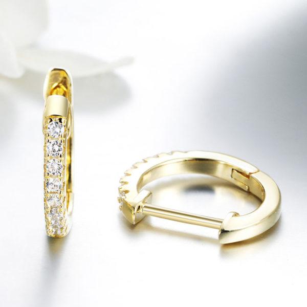 金色小圓鑲 3A級鋯石耳環