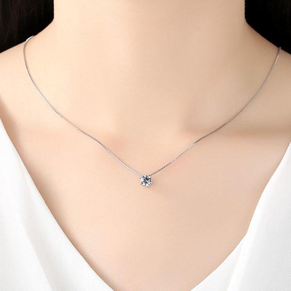 經典1克拉單鑽鋯石 925純銀項鍊