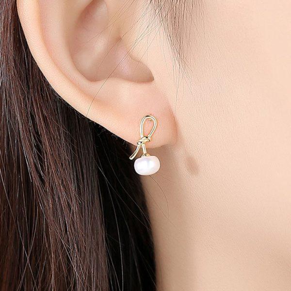 優美蝴蝶結淡水天然珍珠 925純銀耳環
