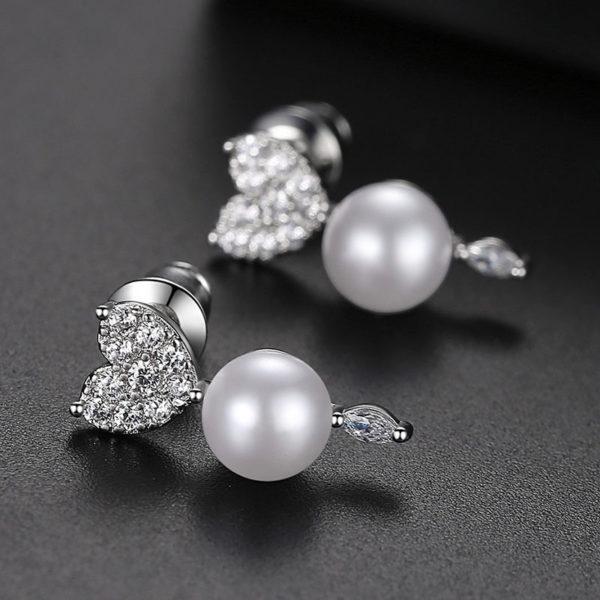 柔美狐狸擬珍珠鋯石耳環