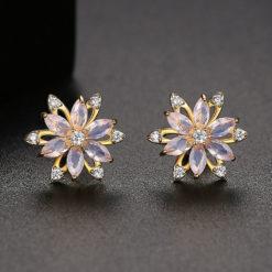 優雅小蘭花鋯石耳環