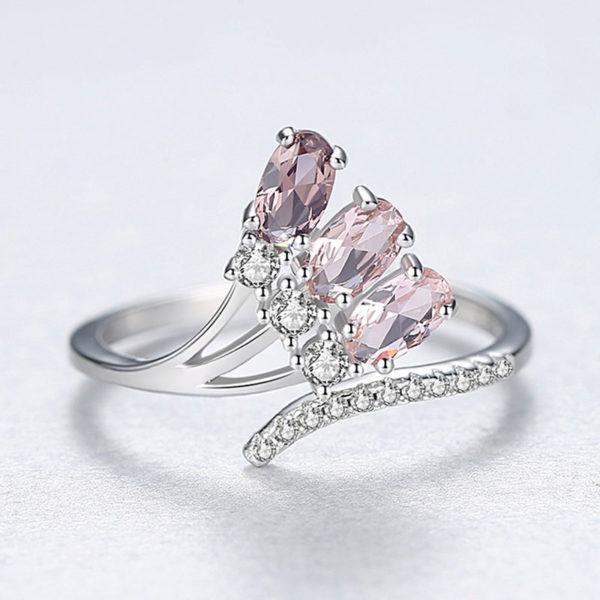 卓莉煙燻人造寶石可調式 925純銀戒指