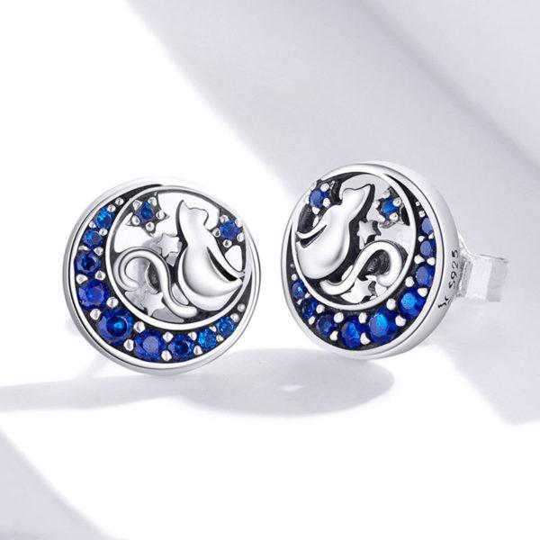 月光下的喵 925純銀鋯石耳環