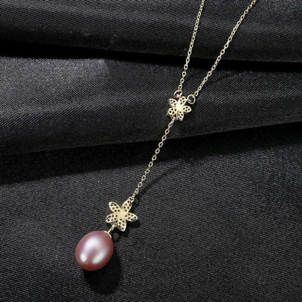 唯美花朵淡水真珍珠 925純銀T型鏈