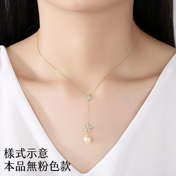 唯美花朵淡水真珍珠 925純銀 T型鏈