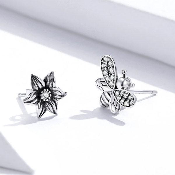 蜜蜂與花朵生生不息 925純銀耳環