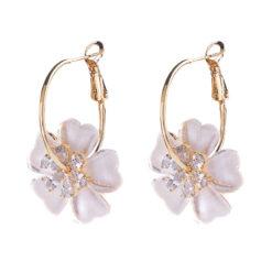 夏威夷風情雙層花朵鋯石耳環