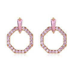 優雅幾何粉鋯石 925純銀耳環