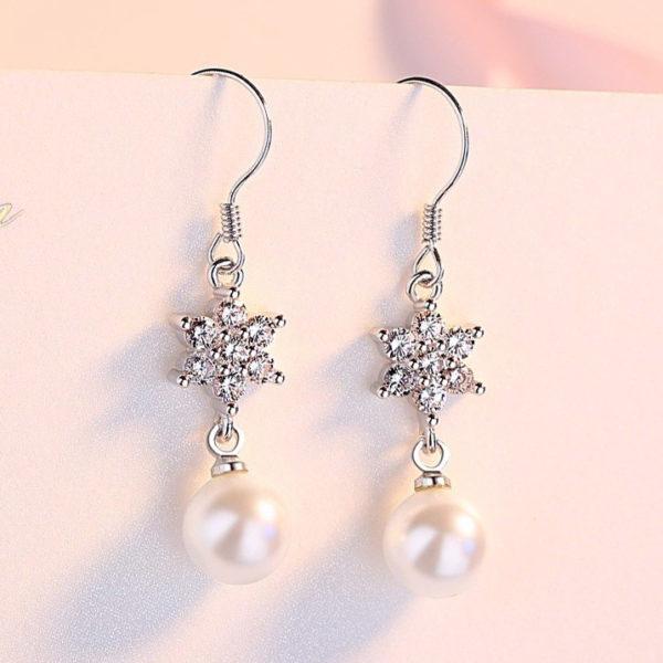 甜美星光擬珍珠鍍銀耳環