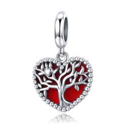 雙層造型愛心樹 925純銀滴釉鍊墜