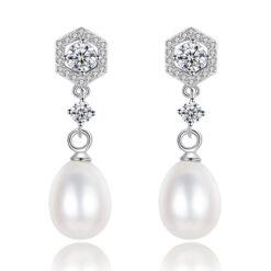 華麗風伊芙淡水珍珠鋯石 925純銀耳環
