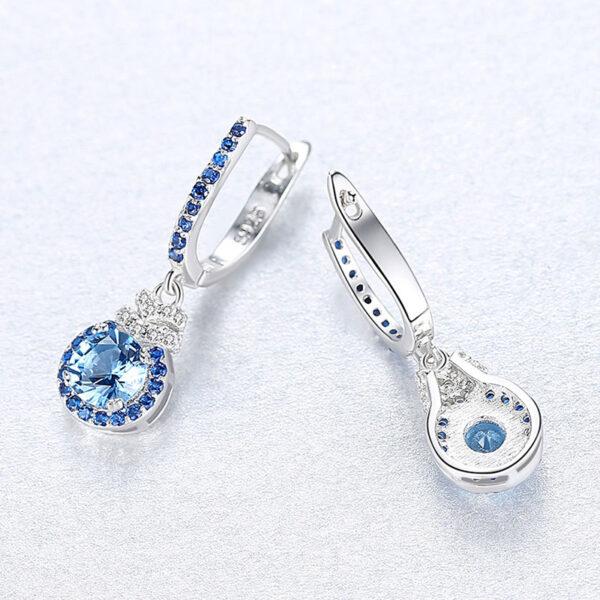 華麗風貴族藍人造石 925純銀耳環