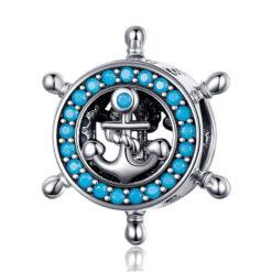 船錨船舵 925純銀藍鋯石鍊墜