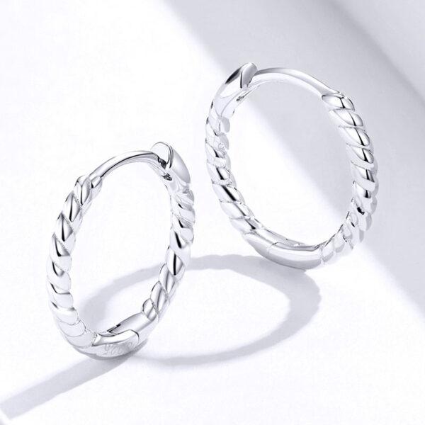 極簡風麻繩編織 925純銀耳環