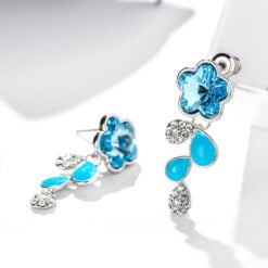 夢幻藍水晶小花滴釉耳環