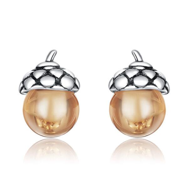 橡樹果實 925純銀耳環