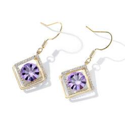 紫戀幾何鋯石水晶耳環