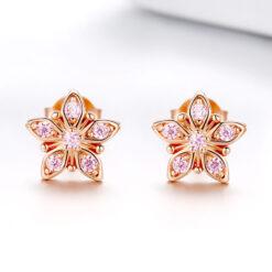 925純銀鍍玫瑰金粉鋯石花朵耳環