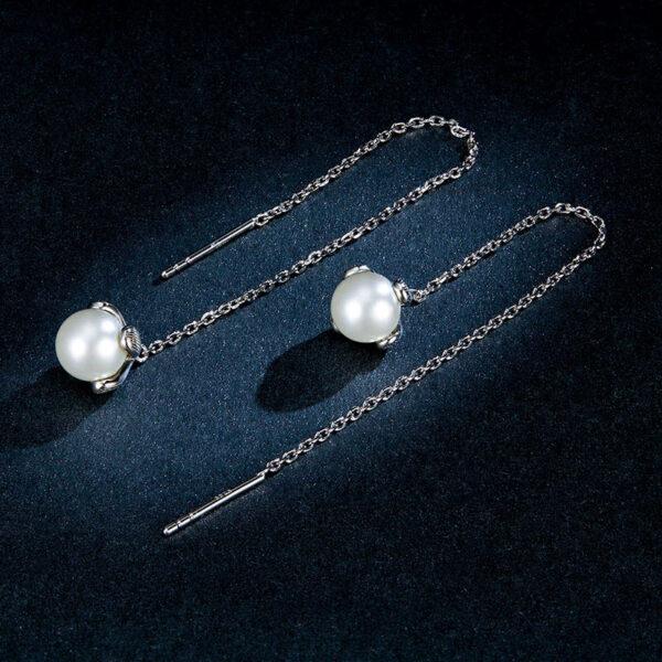 925純銀貝珠流蘇花朵耳環