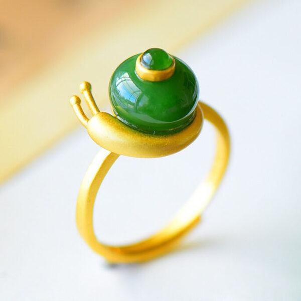 蝸牛碧玉可調式 鎏金 925純銀戒指