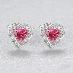唯美三瓣花朵紅鋯石 925純銀耳環