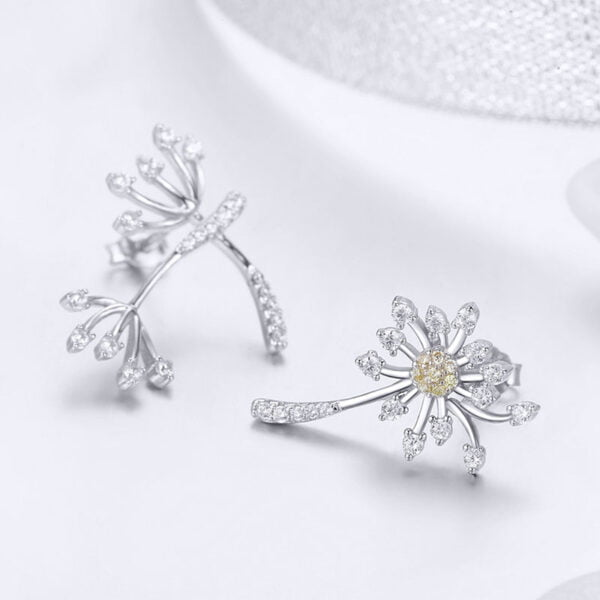 不對稱風蒲公英 925純銀鋯石耳環