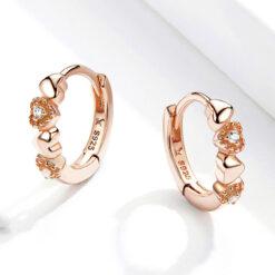甜美玫瑰金色 925純銀愛心鋯石耳環