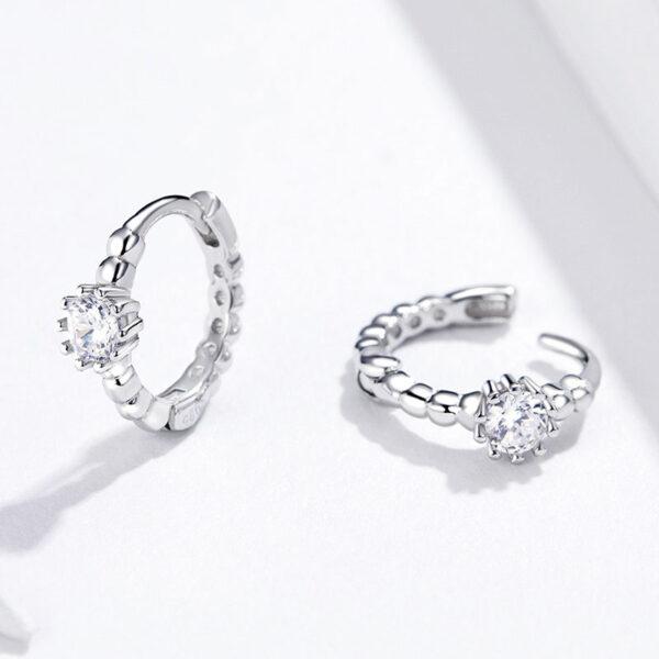 閃亮風北極星鋯石 925純銀耳環