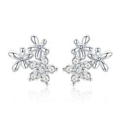 甜美三朵花 925純銀鋯石耳環