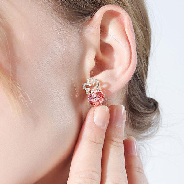 啾咪甜美花朵粉紫水晶耳環