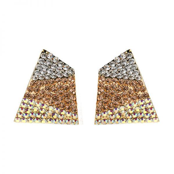 閃亮派對風三色水晶水鑽耳環