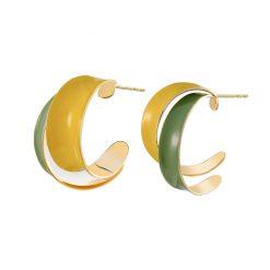 造型風綠黃相間滴釉耳環