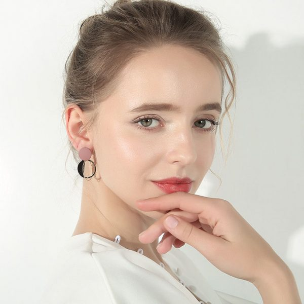 法式設計金屬莫蘭迪紫耳環
