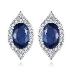 蘇菲亞橄欖型人造寶石 925純銀耳環