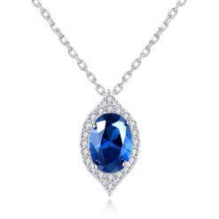 蘇菲亞橄欖型人造寶石 925純銀項鍊