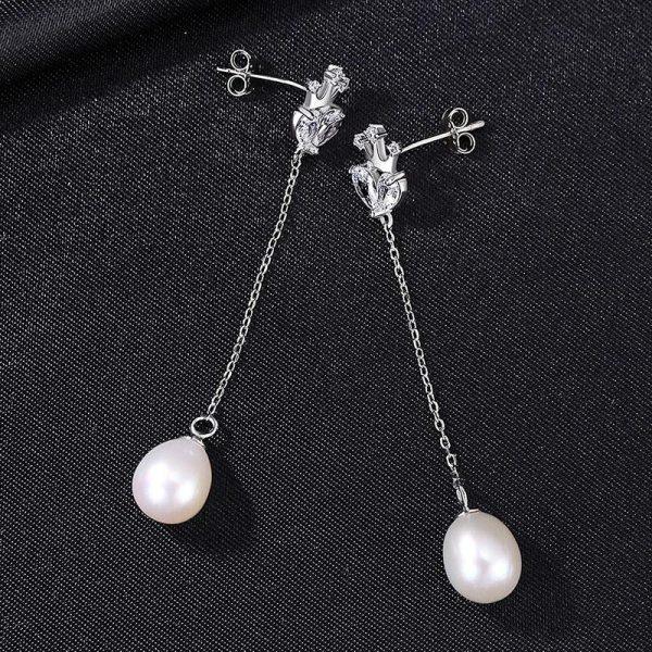 優雅鋯石皇冠 925純銀淡水珍珠耳環