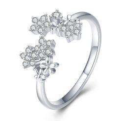 花團錦簇開口式 925純銀鋯石戒指