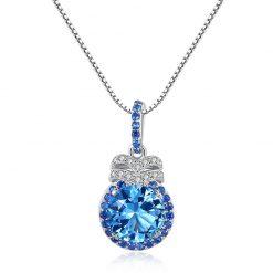 貴族藍人造寶石 925純銀項鍊