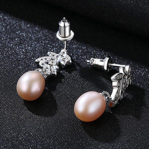 圓舞曲淡水真珍珠 925純銀鋯石耳環